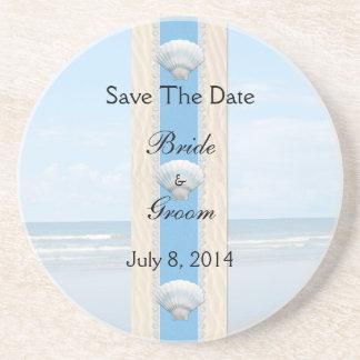 Seashell Beach Wedding Save The Date Drink Coaster