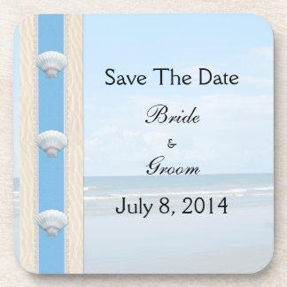 Seashell Beach Wedding Save The Date Coaster