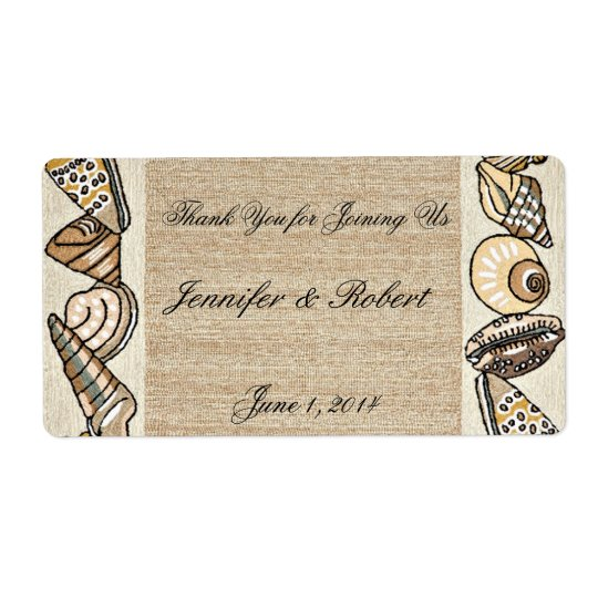 Seashell Border on Brown Weave Water Bottle Label Shipping Label