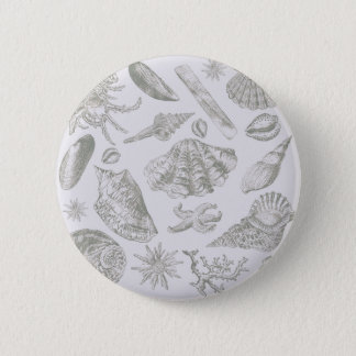 Seashell Chic Pattern Art Print Beach Vintage 2 Inch Round Button