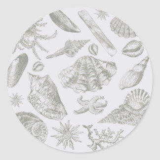 Seashell Chic Pattern Art Print Beach Vintage Classic Round Sticker