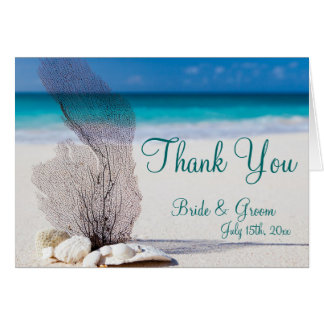 Seashell Destination Beach Wedding Thank You Cards