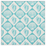 Seashell Diamond Nautical Beach Blue Fabric