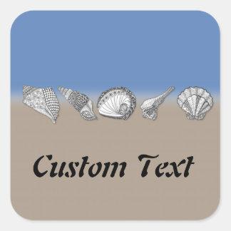 Seashell Drawing Art Square Sticker