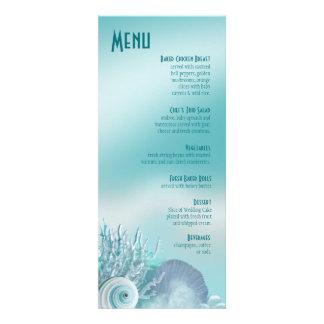 Seashell Dreams Beach Wedding Menu aqua Personalized Invitations