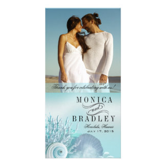 Seashell Dreams Beach Wedding Thank You aqua Card