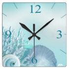 Seashell Dreams Tropical Beach   aqua Square Wall Clock