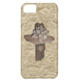 Seashell Driftwood Cross Christian iPhone 5C Cases