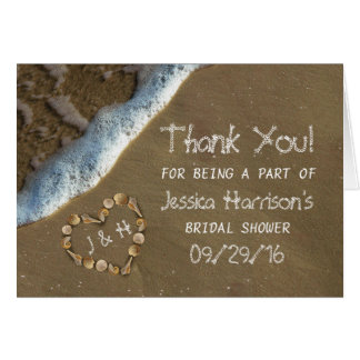 Seashell Heart Beach Bridal Shower Thank You Card