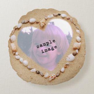 Seashell Heart Photo Template Round Pillow