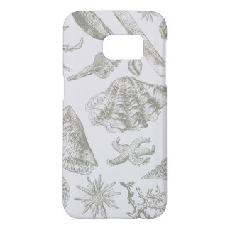 Seashell Ocean Beach Art Print Vintage Pattern Samsung Galaxy S7 Case