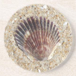 Seashell On Sand Coasters