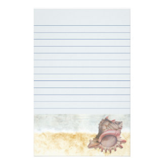 Seashell on the Beach Lined Stationery