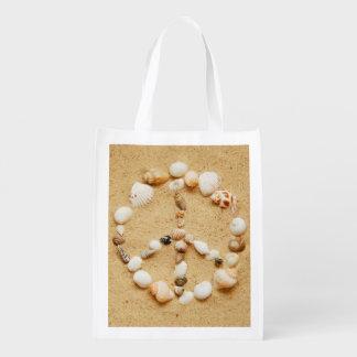 Seashell Peace Sign Reusable Grocery Bag