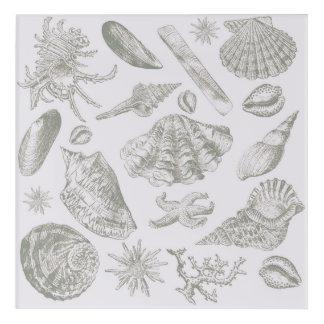 Seashell Shore House Art Print Vintage Drawing