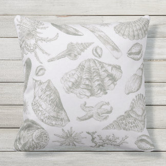 Seashell Shore House Art Print Vintage Drawing Outdoor Pillow