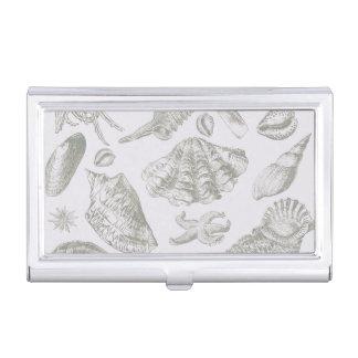 Seashell Soft Antique Art Print Beach House Business Card Holder