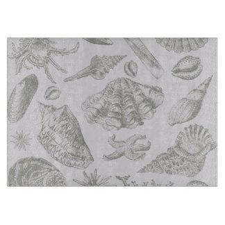 Seashell Soft Antique Art Print Beach House Cutting Board