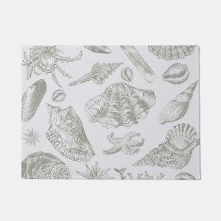 Seashell Soft Antique Art Print Beach House Doormat