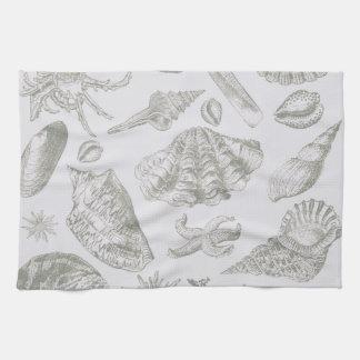 Seashell Soft Antique Art Print Beach House Kitchen Towel