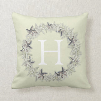 Seashell Starfish Wreath Monogram Initial Pillow