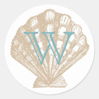 Seashell | Tan Scallop Sea Shell Monogram Classic Round Sticker