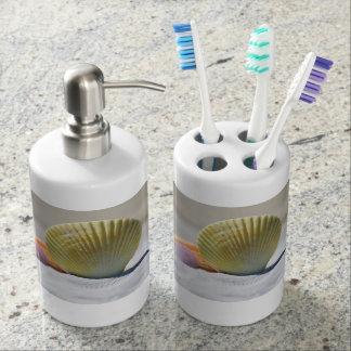 Seashell Toothbrush Holder and Soap Dispenser Set