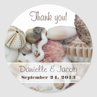 Seashell Treasures Personalized Round Label