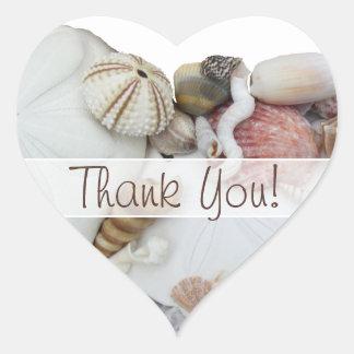 "Seashell Treasures ""Thank You"" Heart Favor Label Heart Sticker"