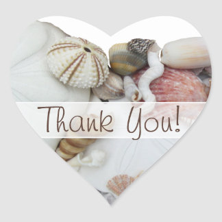 "Seashell Treasures ""Thank You"" Heart Favor Label Heart Stickers"