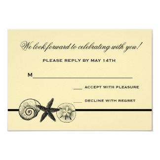 "Seashell Treasures Wedding Response Card 3.5"" X 5"" Invitation Card"