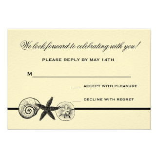 Seashell Treasures Wedding Response Card Announcements