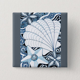 Seashells 2 Inch Square Button