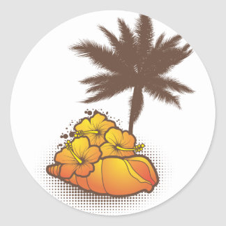 seashells and palmtree 4 orange classic round sticker