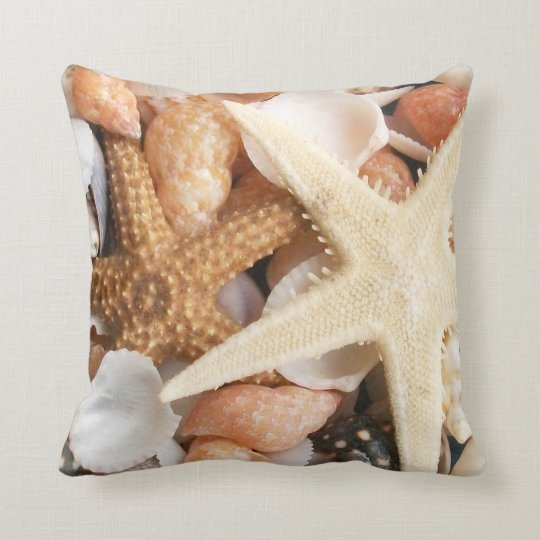 Seashells and Sand Throw Pillow