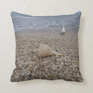 Seashells and Sea Gulls Throw Pillow