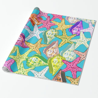 Seashells and sea stars wrapping paper
