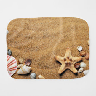 Seashells and Starfish on Beach Baby Burp Cloths