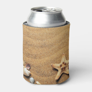 Seashells and Starfish on Beach Can Cooler