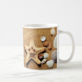 Seashells and Starfish on Beach Coffee Mug