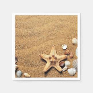 Seashells and Starfish on Beach Disposable Napkin