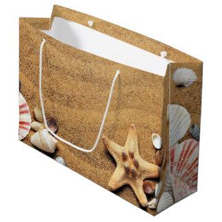 Seashells and Starfish on Beach Large Gift Bag