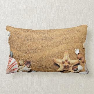 Seashells and Starfish on Beach Lumbar Pillow
