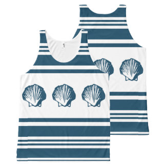Seashells and stripes All-Over-Print tank top