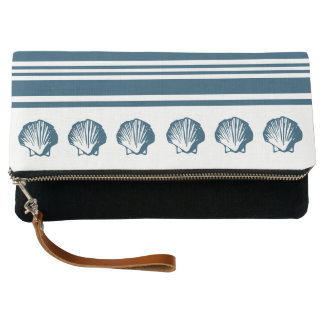 Seashells and stripes clutch