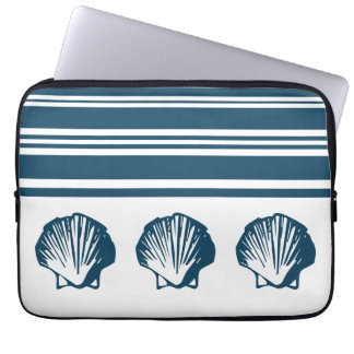 Seashells and stripes computer sleeve