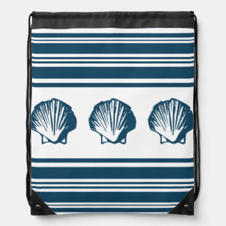 Seashells and stripes drawstring bag