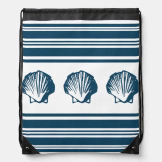 Seashells and stripes drawstring bag