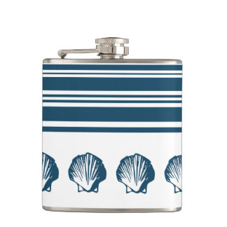 Seashells and stripes hip flask