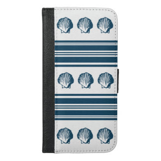 Seashells and stripes iPhone 6/6s plus wallet case